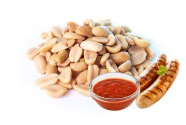 Арахис со вкусом жаренные колбаски с соусом карри 1 кг.